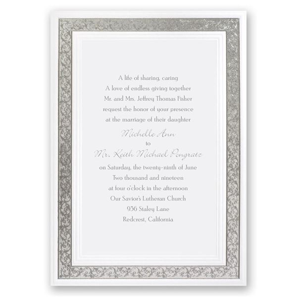 All That Shimmers Silver Invitation