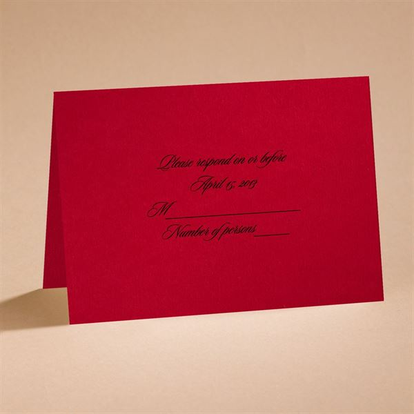 Dramatic Rose Black and Red respond card and envelope
