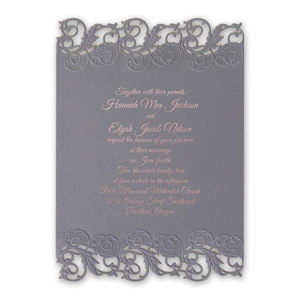 Rolling Vines Foil and Laser Cut Invitation