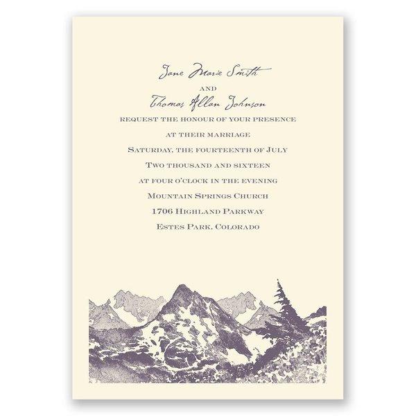 Watercolor Mountain - Ecru - Invitation