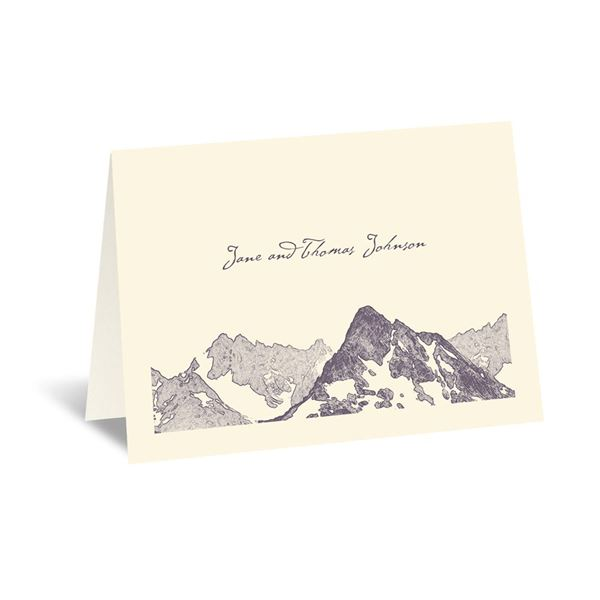 Watercolor Mountain - Ecru - Thank You Card