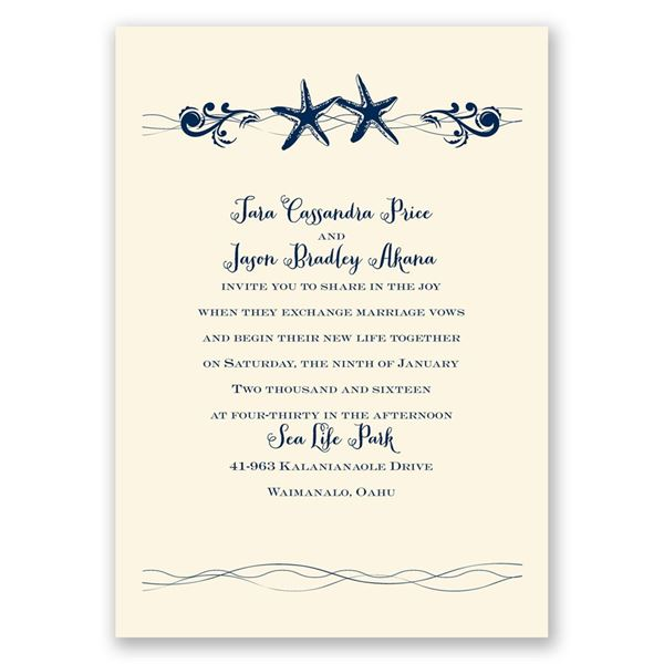 Sweet Starfish - Ecru - Invitation