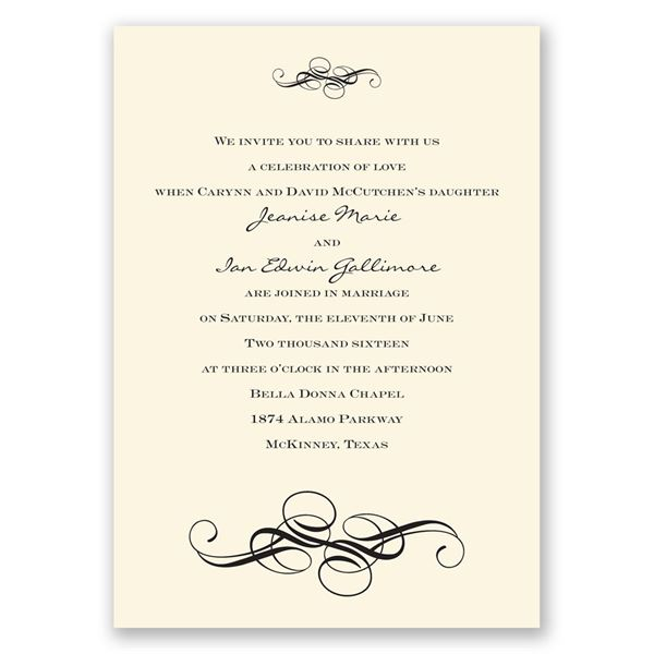 Fancy Flourishes - Ecru - Invitation