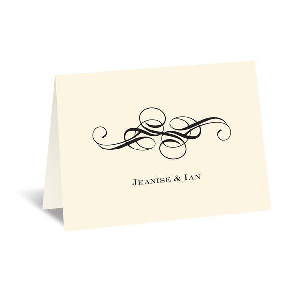 Fancy Flourishes - Ecru - Thank You Card