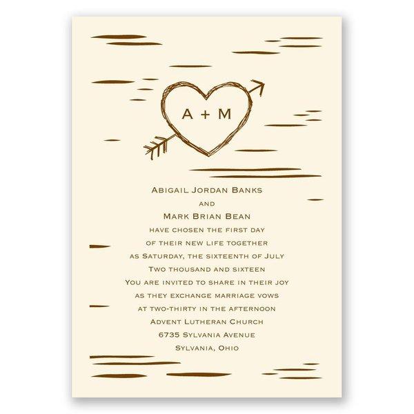 Birch Bark Heart - Ecru - Invitation