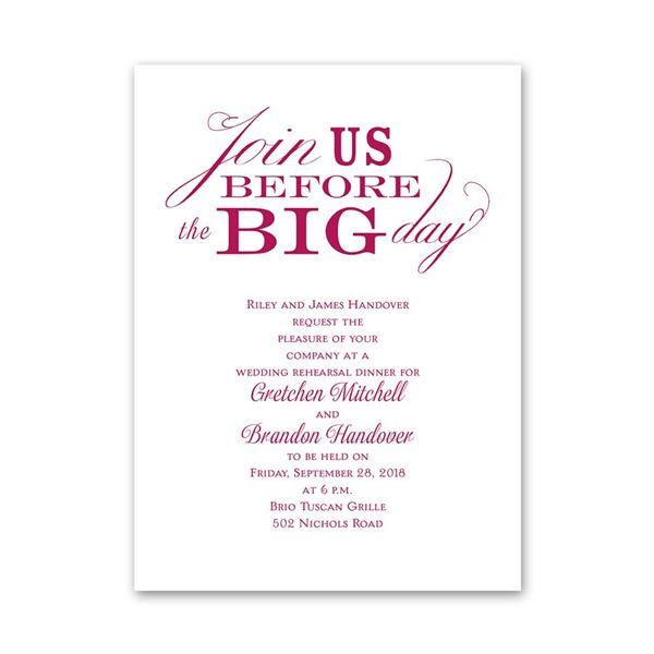 Join Us Petite Rehearsal Dinner Invitation
