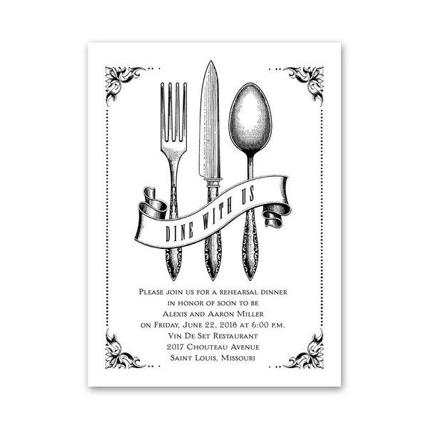Vintage Silver Petite Rehearsal Dinner Invitation