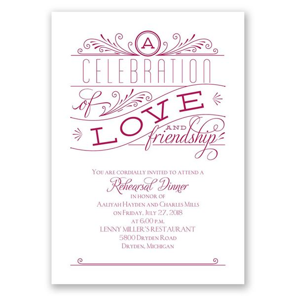 Love and Friendship Rehearsal Dinner Invitation