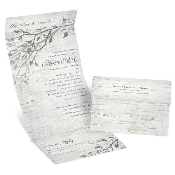 Silver Branches Foil Seal and Send Invitation