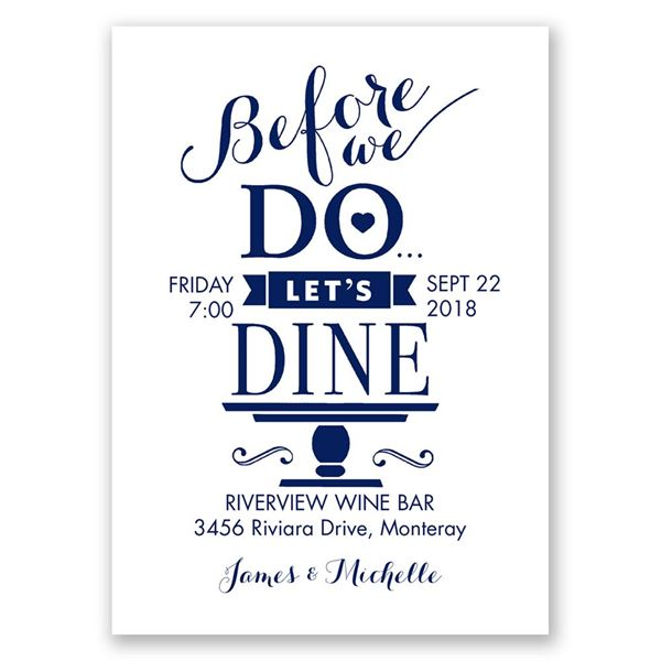 "Let""s Dine Mini Rehearsal Dinner Invitation"