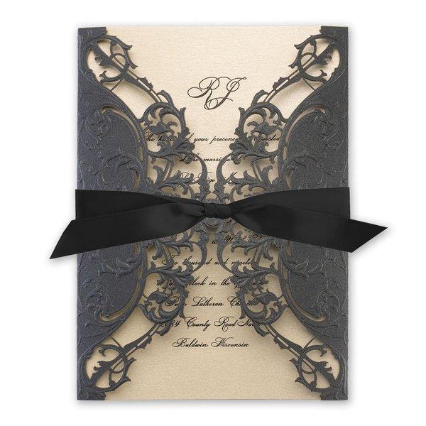 Royal Details Black Shimmer Laser Cut Invitation