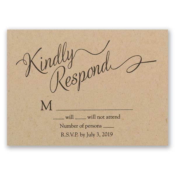 Beautifully Krafted Response Card