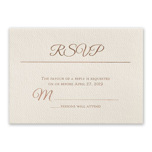 Layers of Luxury Rose Gold Foil Response Card