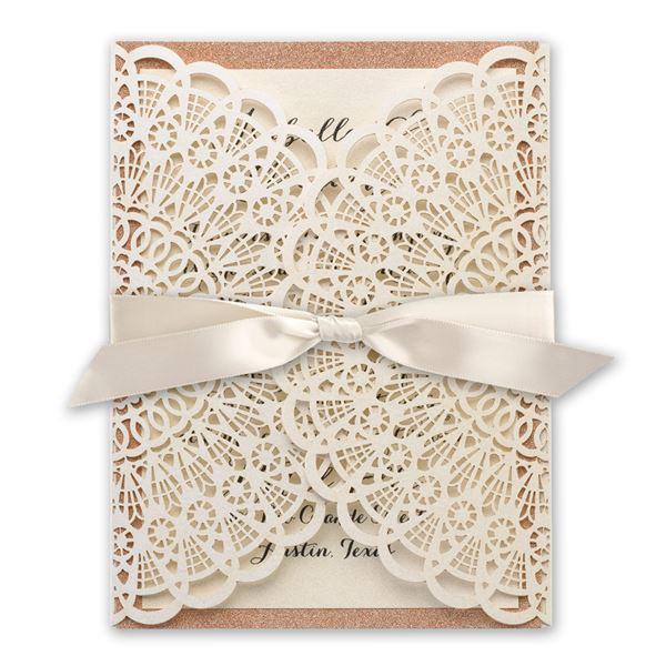 Rustic Glam Rose Gold Laser Cut and Real Glitter Invitation