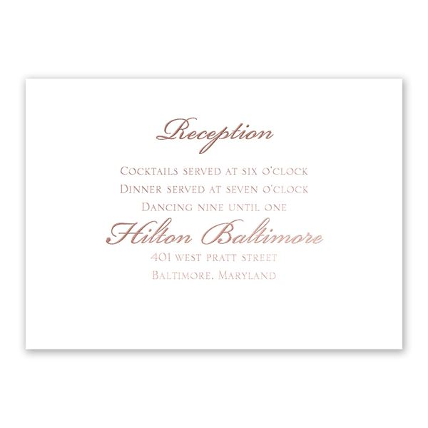 Gilded Beauty Rose Gold Foil Reception Card