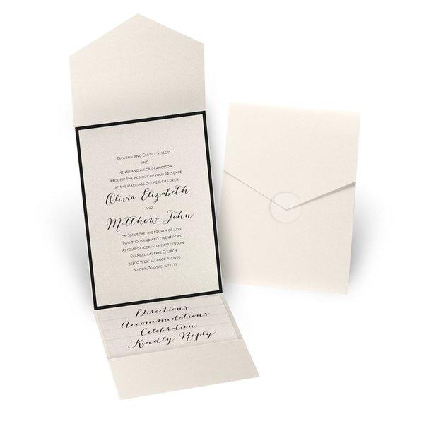 Luxe Elegance - Black - Ecru Shimmer Pocket Invitation