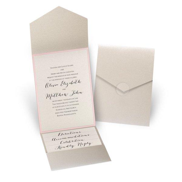 Luxe Elegance - Pink - Gold Shimmer Pocket Invitation