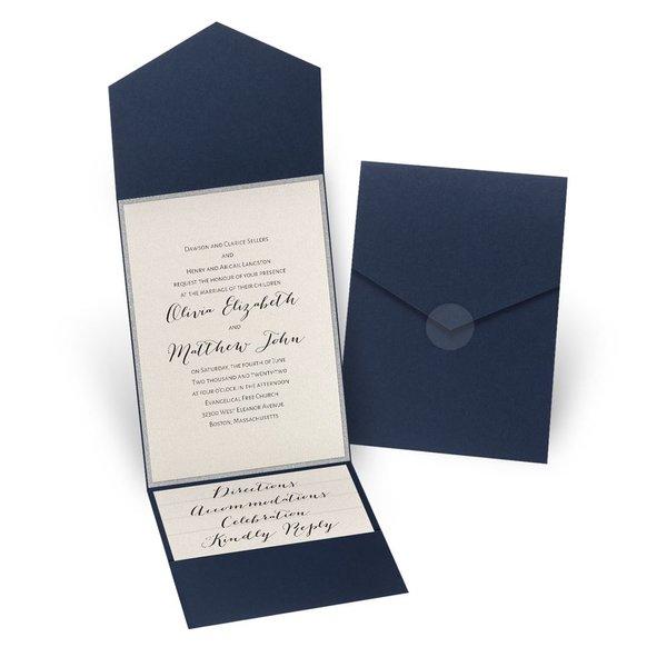 Glitter Elegance - Silver Glitter - Navy Pocket Invitation