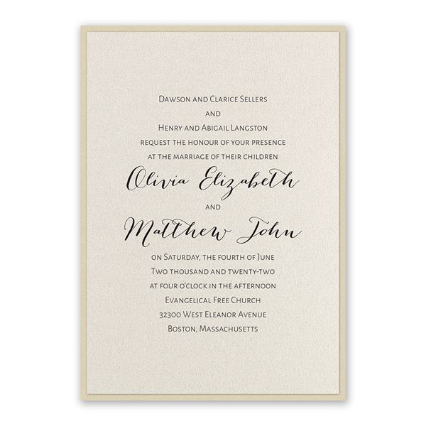 Layered Elegance - Gold Shimmer - Invitation