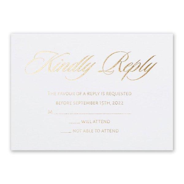 Glittering Glamour Gold Foil Response Card