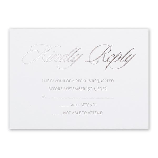 Glittering Glamour Silver Foil Response Card