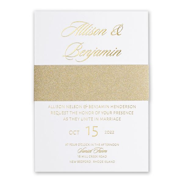 Glittering Glamour Gold Foil Invitation