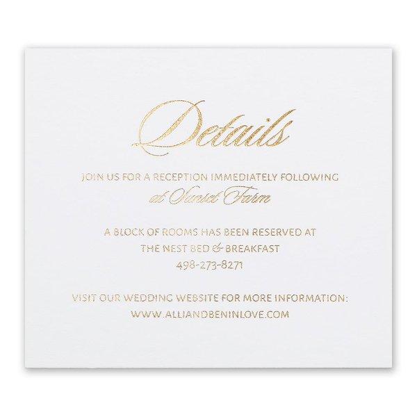 Glittering Glamour Gold Foil Information Card