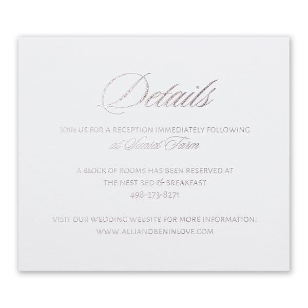 Glittering Glamour Silver Foil Information Card
