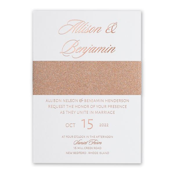 Glittering Glamour Rose Gold Foil Invitation