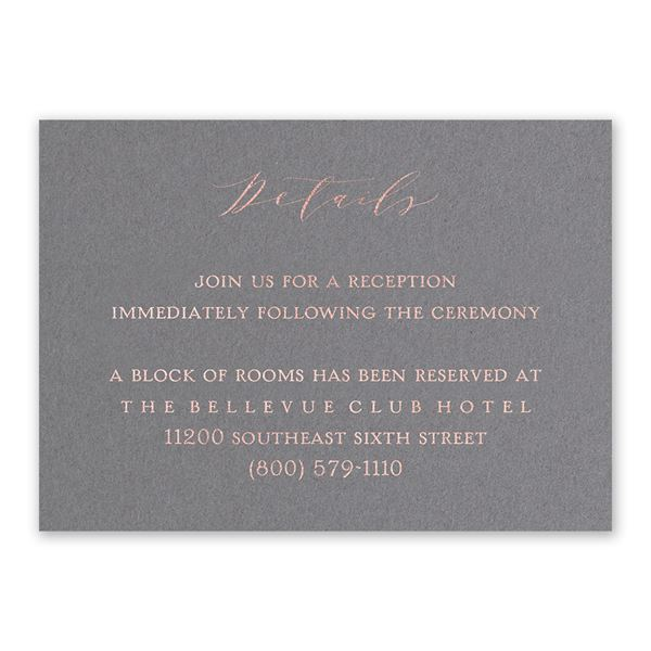 Love Story - Rose Gold - Foil Reception Card