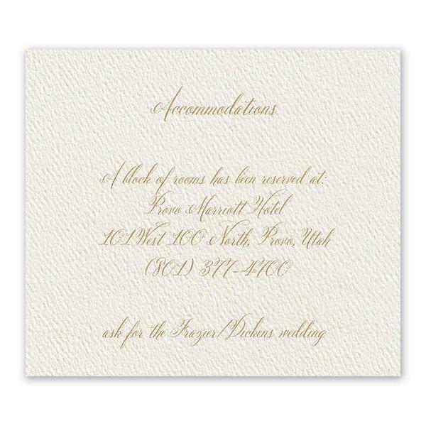 Wedded Bliss Ecru Information Card