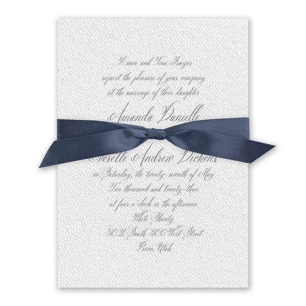 Wedded Bliss - Steel Blue - White Invitation