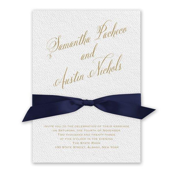 Fresh Angle - Navy - White Invitation