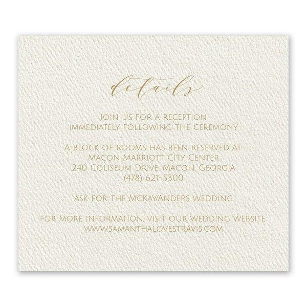 Modern Elegance Ecru Information Card