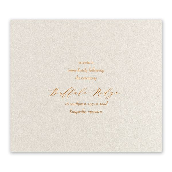 Wrapped in Beauty Copper Foil Reception Card