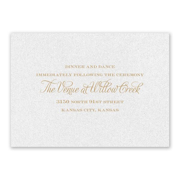 Regal Damask White Shimmer Reception Card