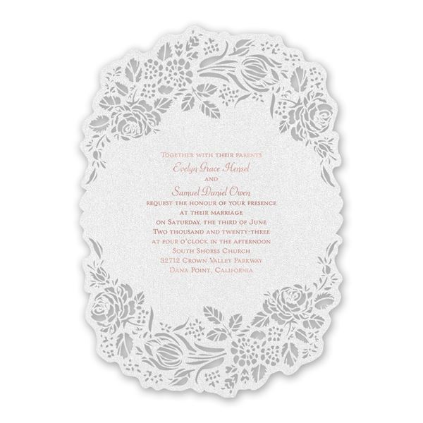 Blooming Beauty Rose Gold Laser Cut Invitation