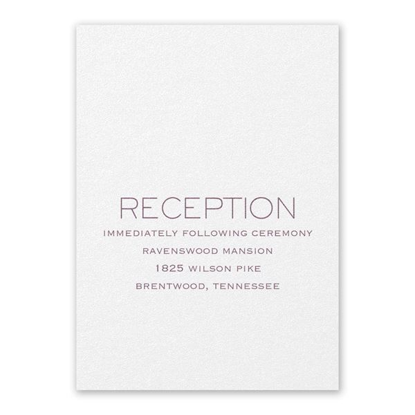 Modern Love White Reception Card