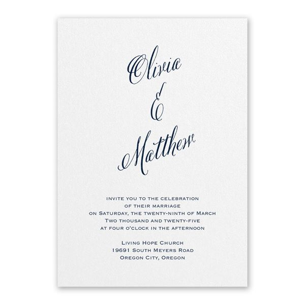 Meant to Be White Invitation