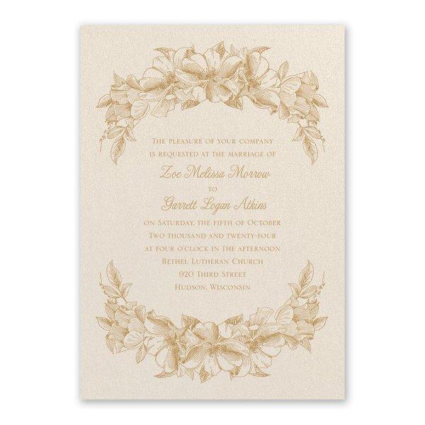 Forever Floral Ecru Invitation
