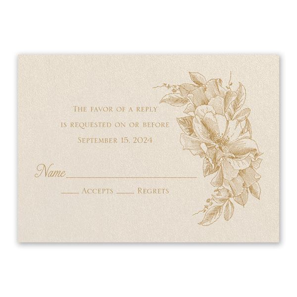 Forever Floral Ecru Response Card