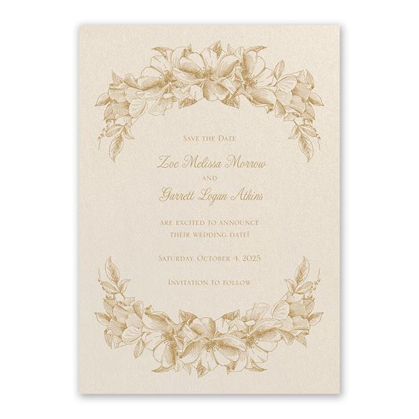 Forever Floral Ecru Save the Date Card