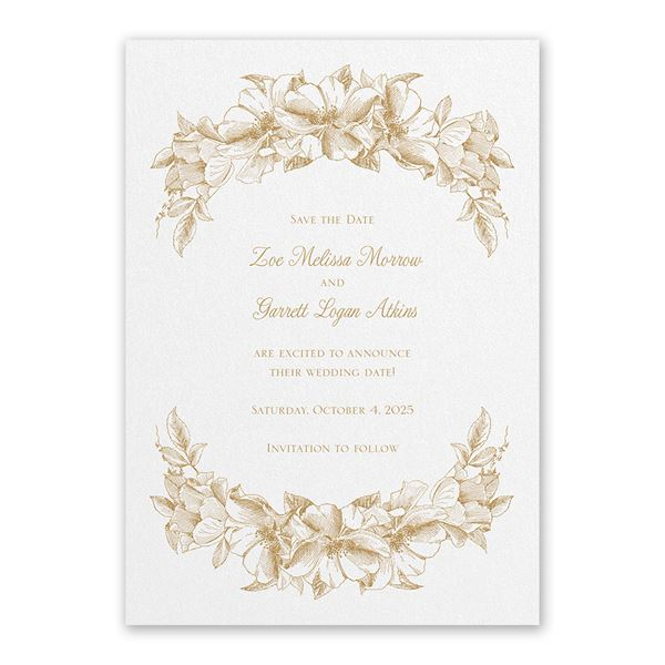 Forever Floral White Save the Date Card
