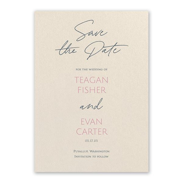 Sweet Statement Ecru Save the Date Card