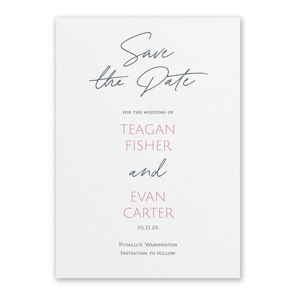 Sweet Statement White Save the Date Card