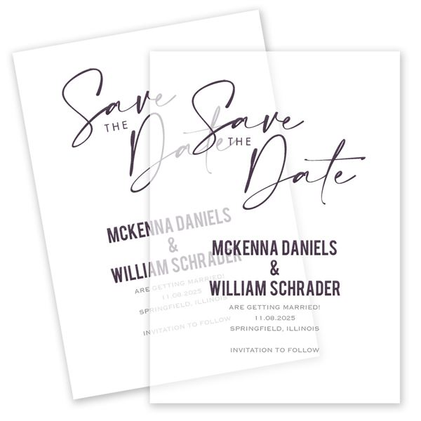Lovely Script Vellum Save the Date Card