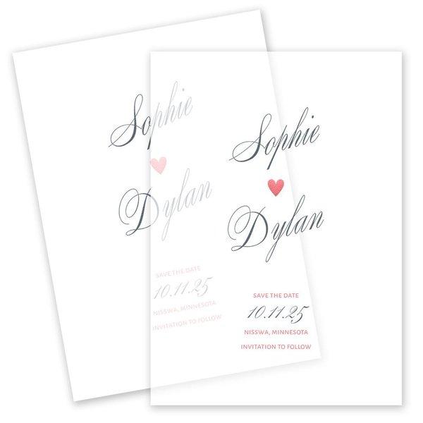 In Love Vellum Save the Date Card