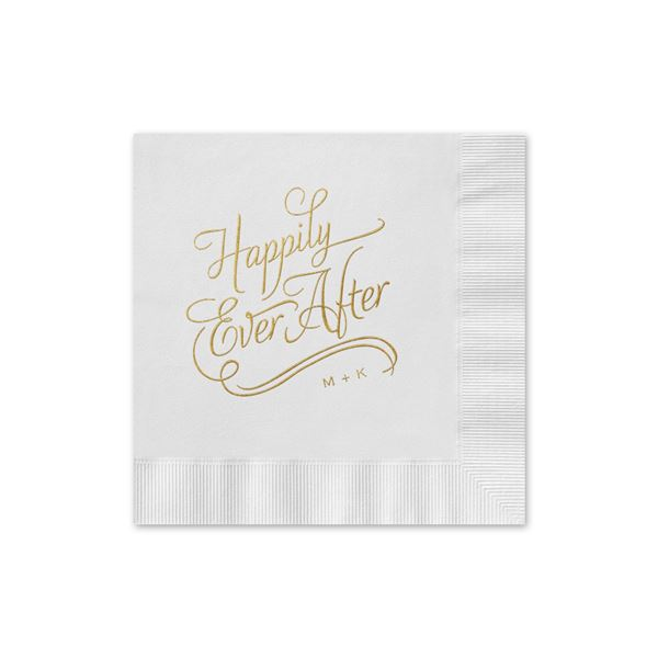Happily Ever After - White - Foil Cocktail Napkin