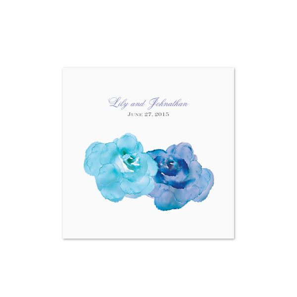 Watercolor Roses - Blue - White Cocktail Napkin