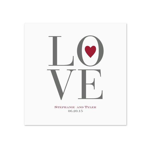 Love Letters - White Dinner Napkin